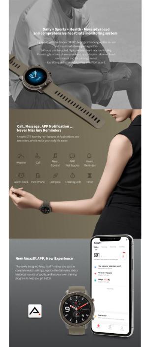 ساعت هوشمند آمازفیت شیائومی مدل GTR نسخه 47 میلیمتری