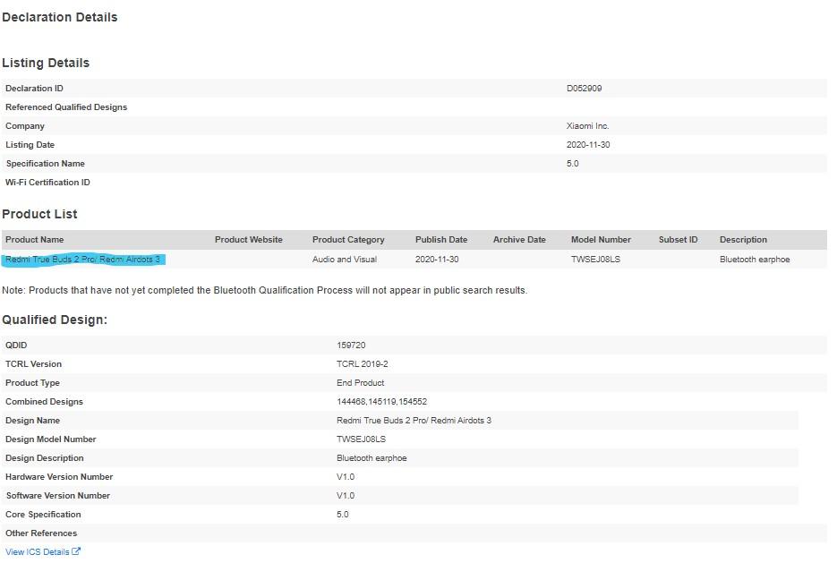 هندزفری Redmi True Buds 2 Pro در اسناد SIG رویت شد